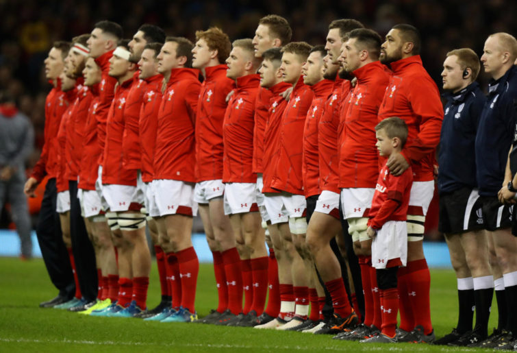Wales line up during the NatWest Six Nations match between Wales and Italy at the Principality Stadium on March 11, 2018 in Cardiff, Wales.