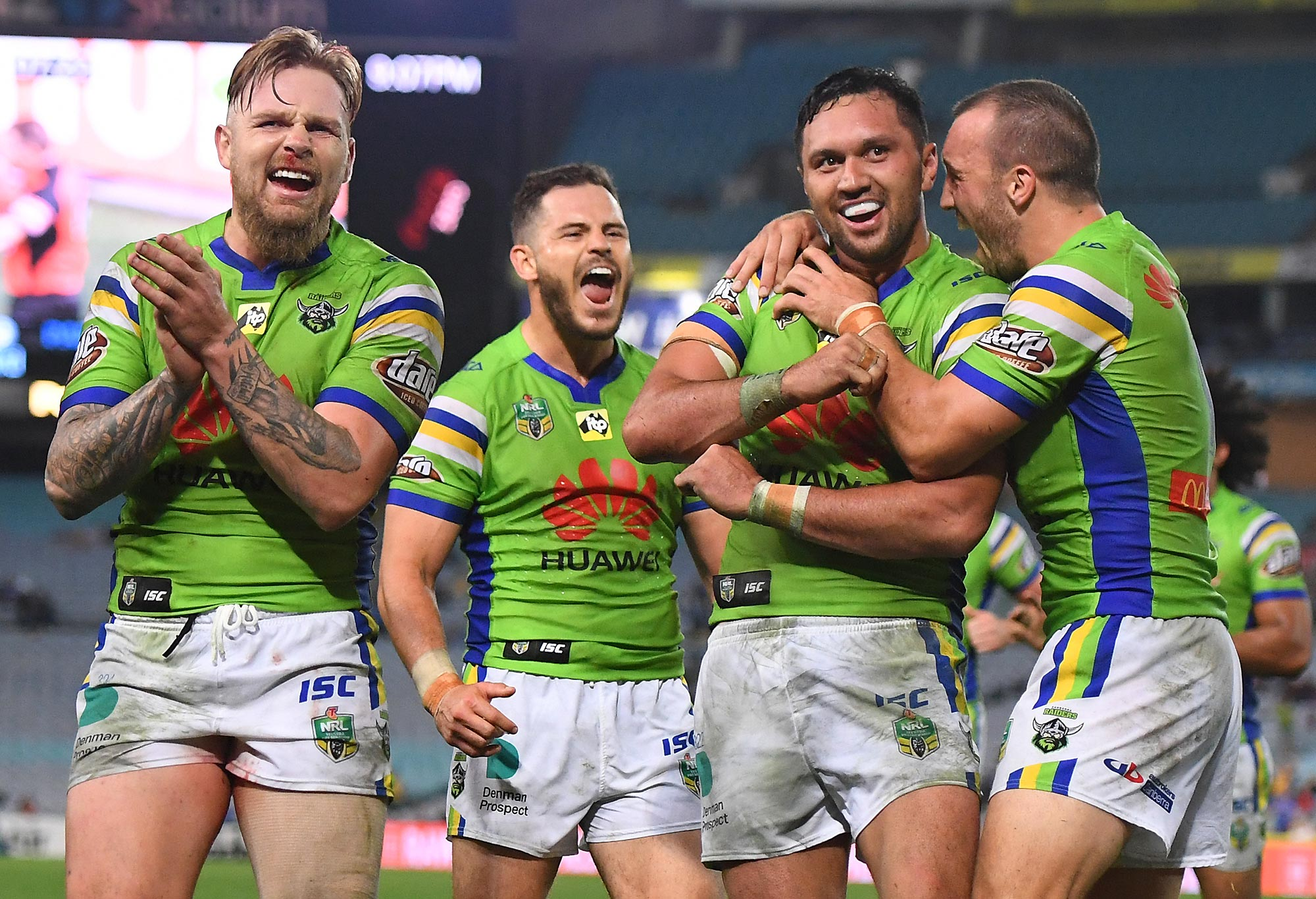 Canberra Raiders celebrate a try