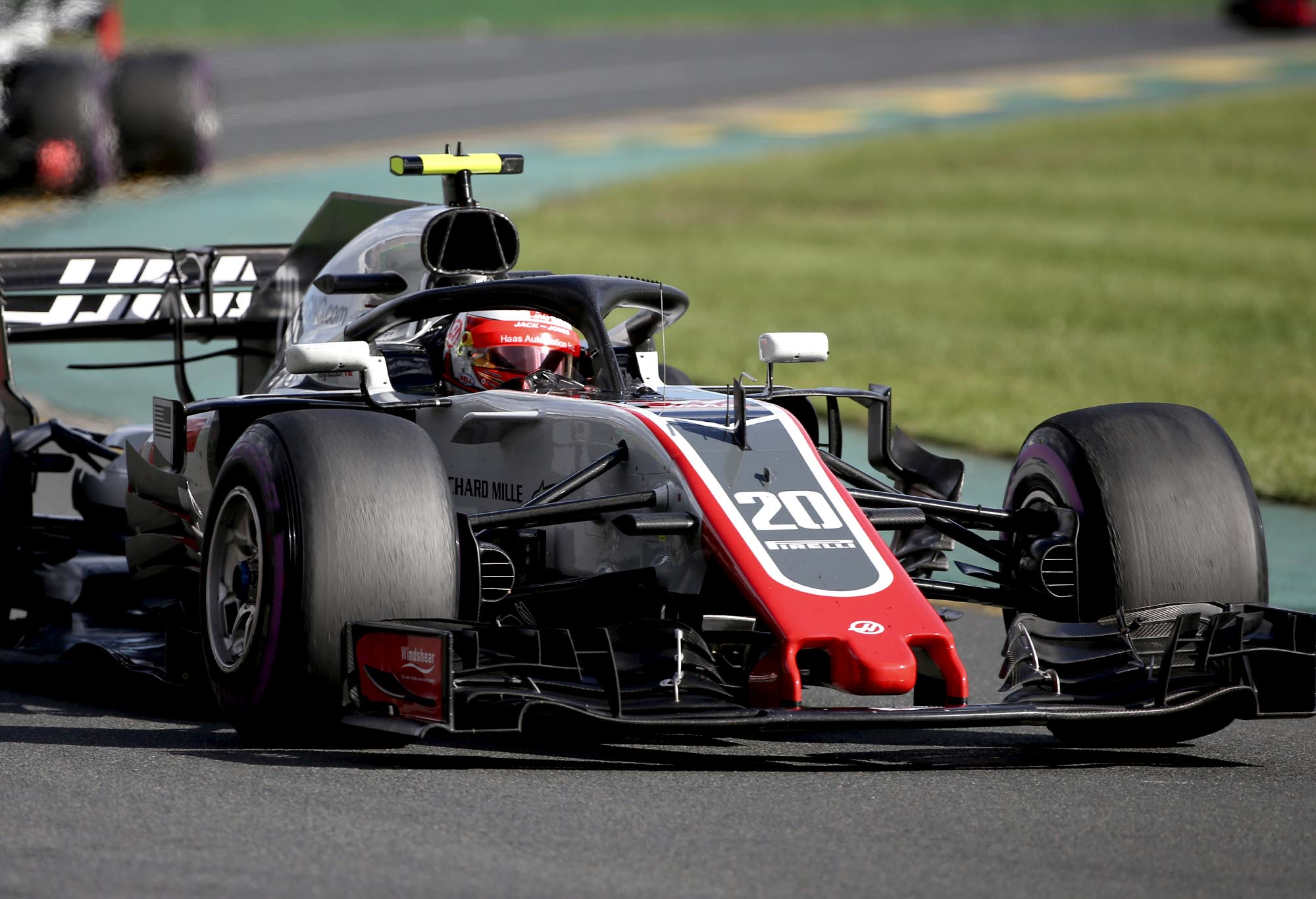 Haas driver Kevin Magnussen on track at the 2018 Australian Grand Prix.