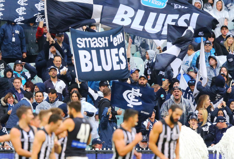 Carlton Blues fans celebrate a goal.