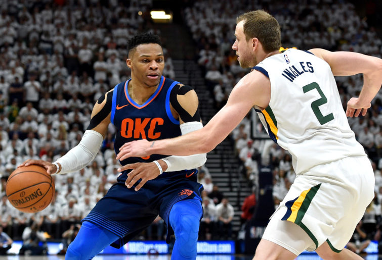 Russell Westbrook facilitating the offence.