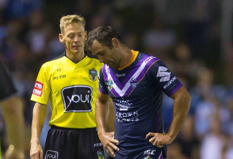 Cameron Smith of the Storm is sin binned but wasn't keen to leave the field