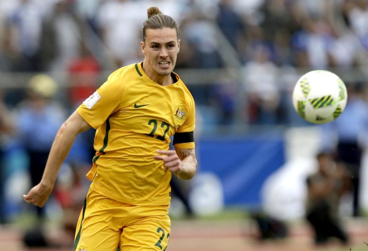 Jackson Irvine in action against Honduras in a Socceroos World Cup qualifier
