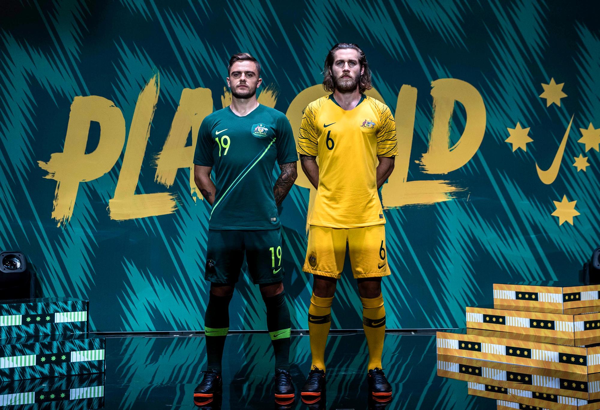 beae89f7961 Josh Risdon and Matthew Jurman pose at the unveiling of the Socceroos   jerseys.