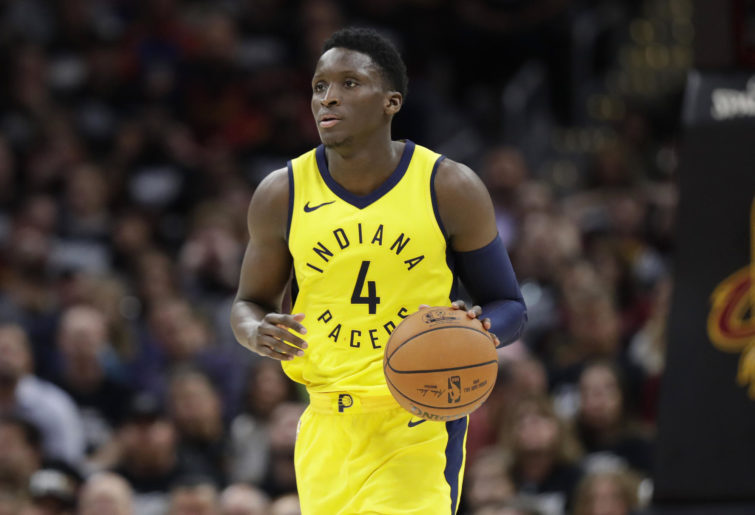 Victor Oladipo dribbles the ball