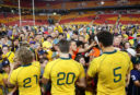 Wallaby players sign autographs for fans