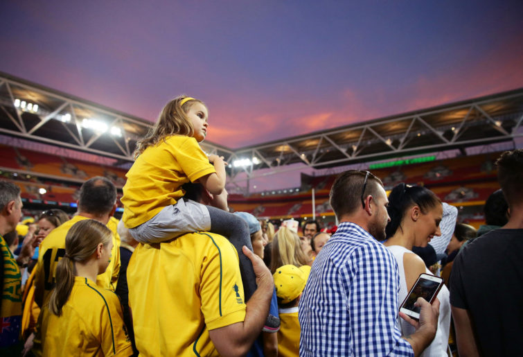 A young Wallaby fan watches on