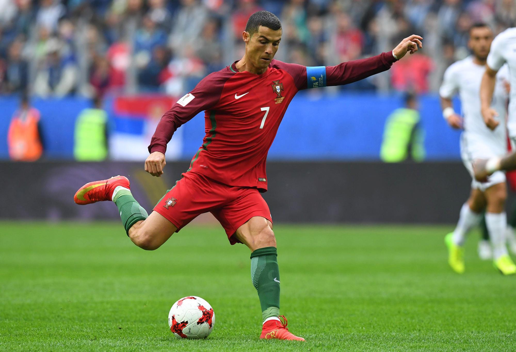 Portugal's Cristiano Ronaldo takes a shot at goal.