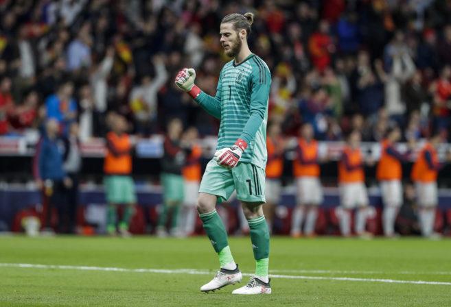 Spain's goalkeeper David De Gea celebrates