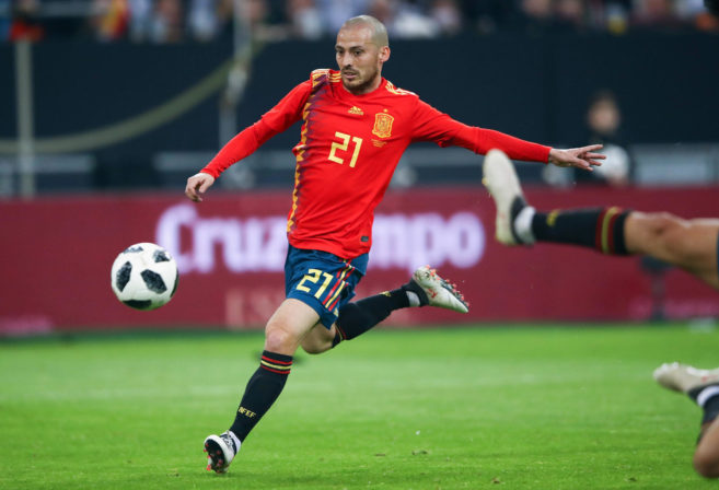 Spain's David Silva controls the ball.