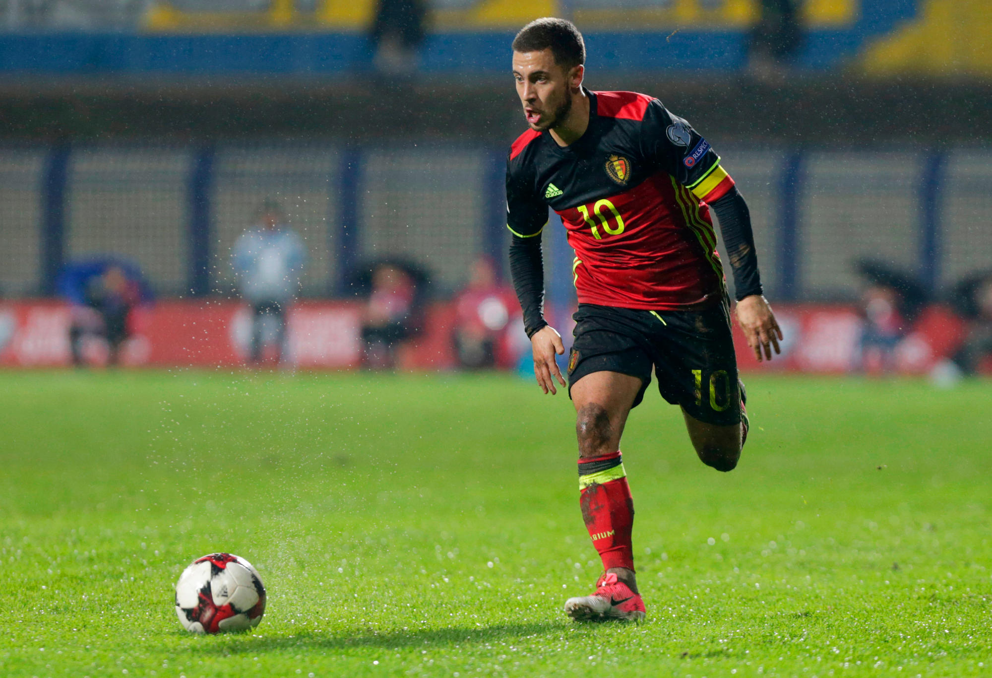 Belgium's Eden Hazard controls the ball during the World Cup Group H qualifying soccer match between Bosnia and Belgium at the Grbavica stadium in Sarajevo, Bosnia.
