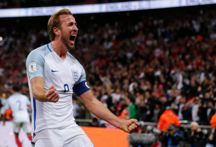 England's Harry Kane celebrates after scoring the opening goal of his team during the World Cup Group F qualifying soccer match between England and Slovenia at Wembley stadium in London, Thursday, Oct. 5, 2017. England won 1-0.