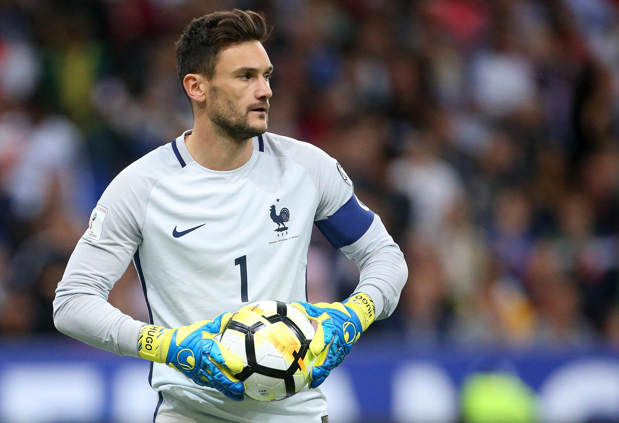 France's goalkeeper Hugo Lloris looks on.