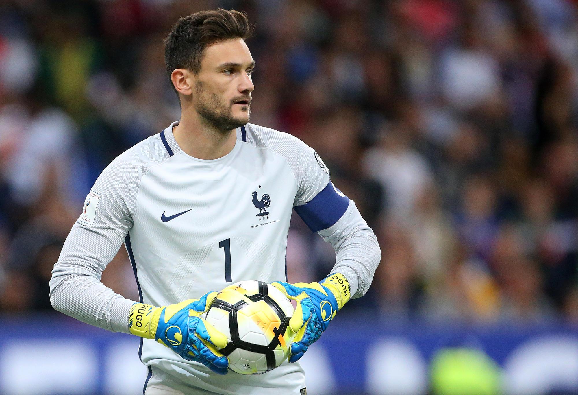 France's goalkeeper Hugo Lloris looks on.