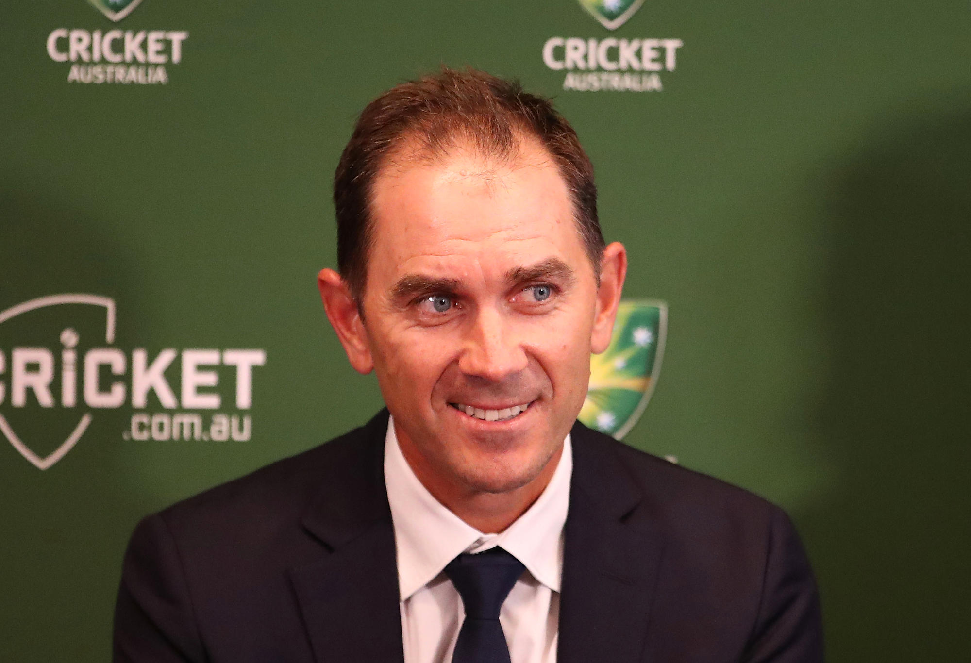 Justin Langer, coach of Australia speaks to the media during a press conference on May 3, 2018 in Melbourne, Australia. Langer has been appointed the Team Head Coach of the Australian men's cricket team, replacing Darren Lehmann who resigned in the wake of the ball tampering scandal.