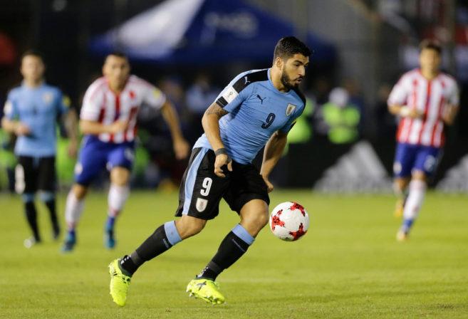 Uruguay's Luis Suarez controls the ball