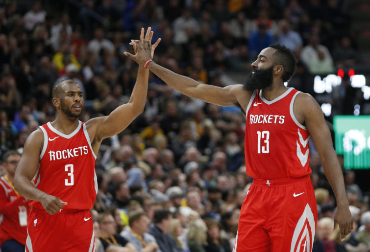 James Harden and Chris Paul celebrate