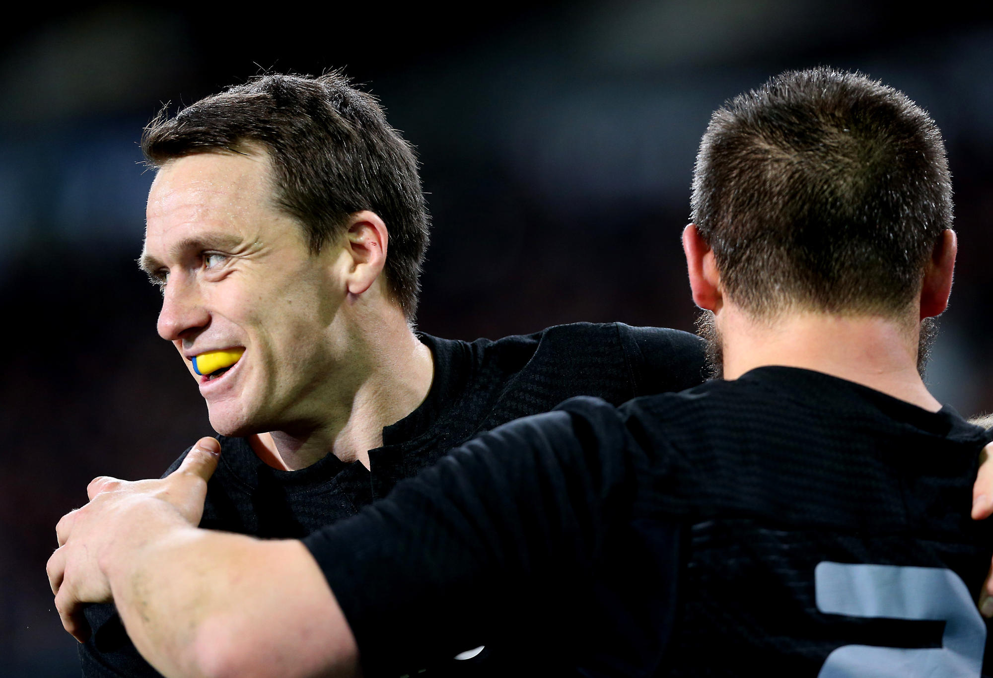 Ben Smith celebrates a try for the All Blacks
