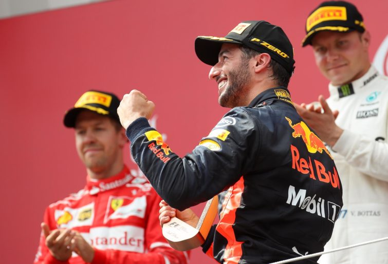 Daniel Ricciardo celebrates on the 2017 Austrian Grand Prix podium. (GEPA pictures / Christian Walgram)