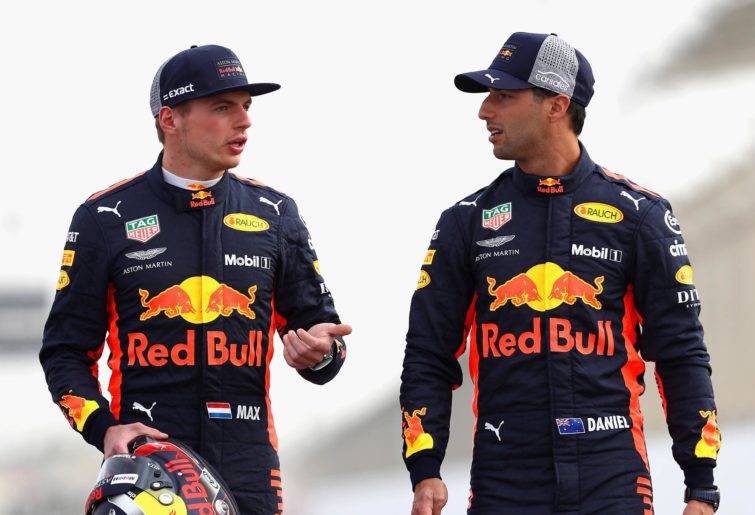 Red Bull Racing's Daniel Ricciardo and Max Verstappen at the 2018 Bahrain Grand Prix.