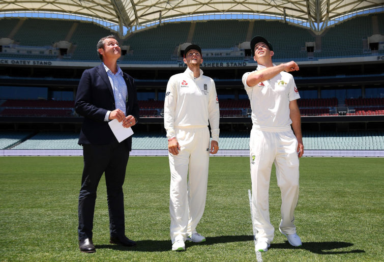 Joe Root and Tim Paine at the coin toss