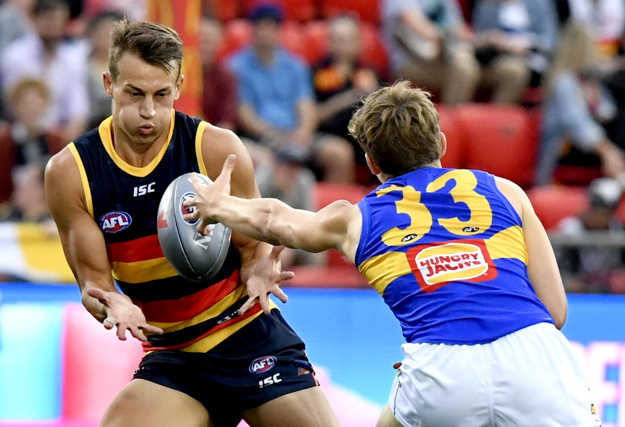 Tom Doedee plays for the Adelaide Crows in 2018's AFLX tournament.