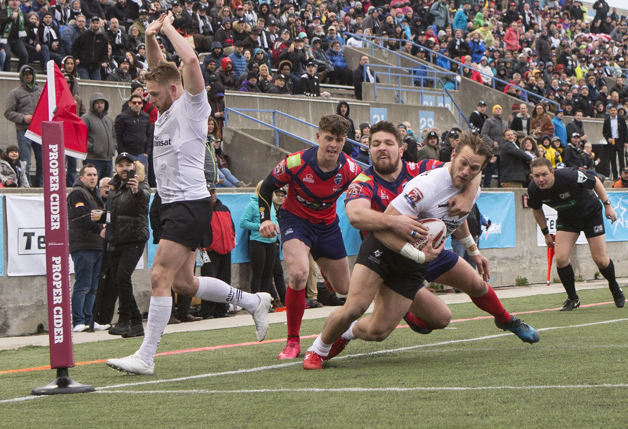 Toronto Wolfpack's Ryan Burroughs scores a try