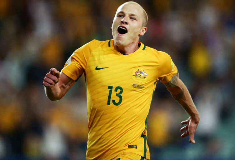 Aaron Mooy celebrates for the Socceroos