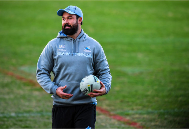 Aaron Woods is seen at training at new club Cronulla Sharks