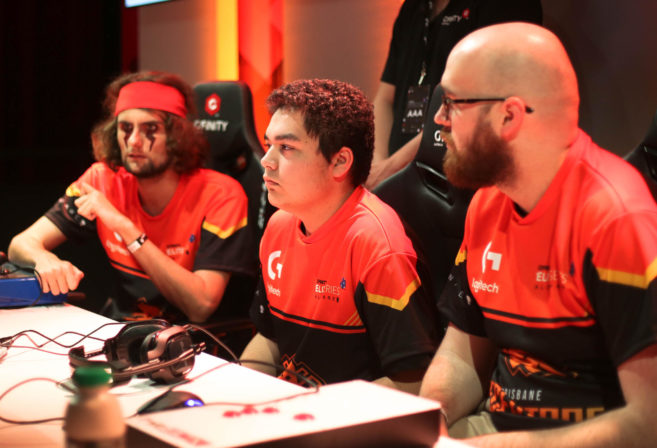 Members of the Brisbane Deceptors Street Fighter V team competing in the Gfinity Elite Series esports competition