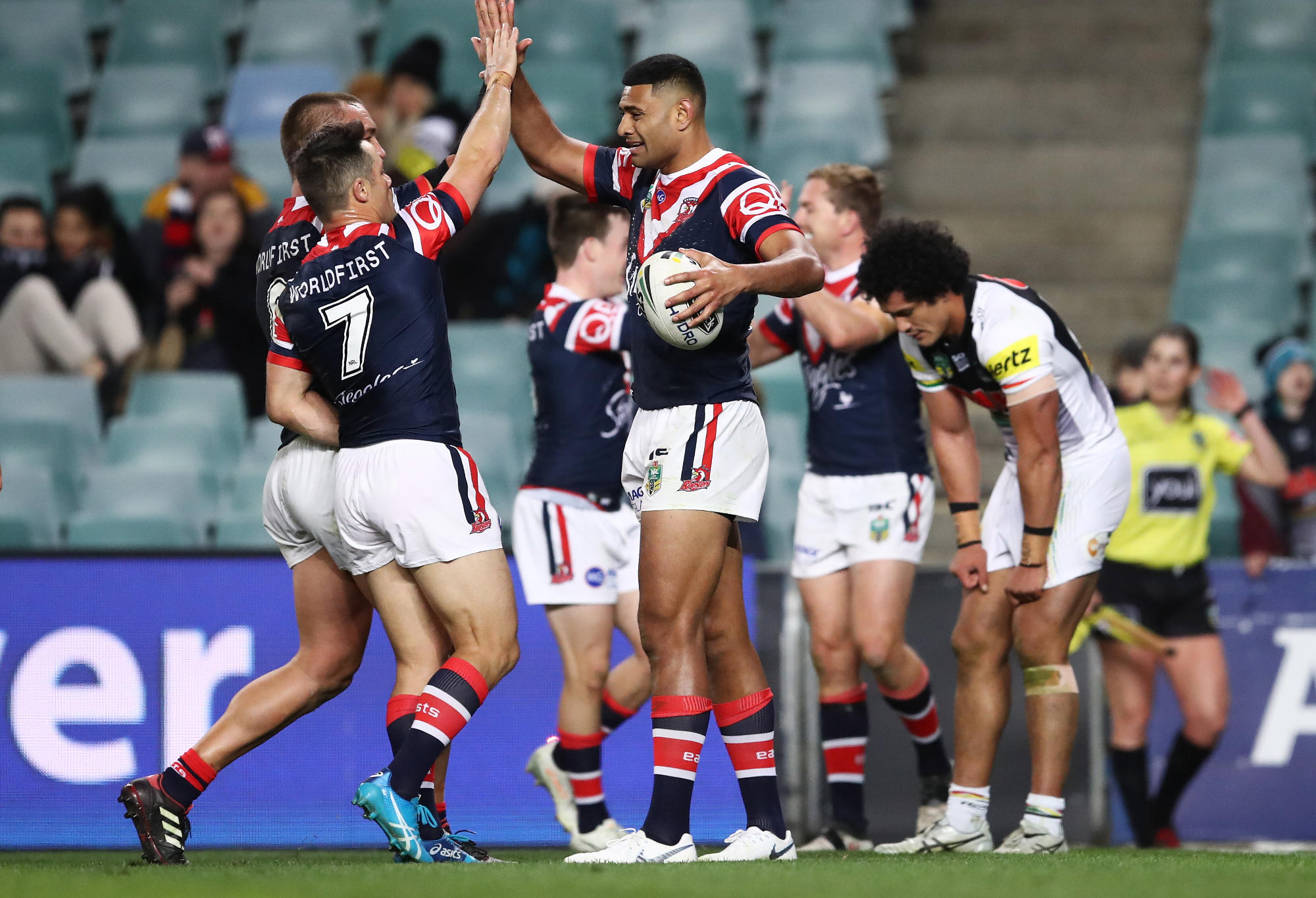 The Roosters celebrate during their win over the Panthers.