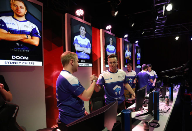 Members of the Sydney Chiefs Gfinity Elite Series esports team celebrate a victory in CS:GO