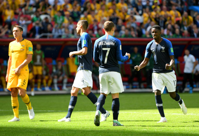 Antoine Griezmann celebrates scoring against Australia