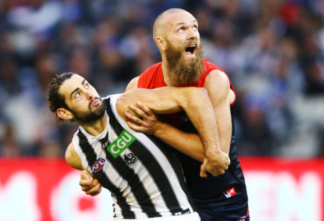 Brodie Grundy and Max Gawn fight it out in the ruck