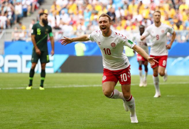 Christian Eriksen celebrates scoring a goal for Denmark