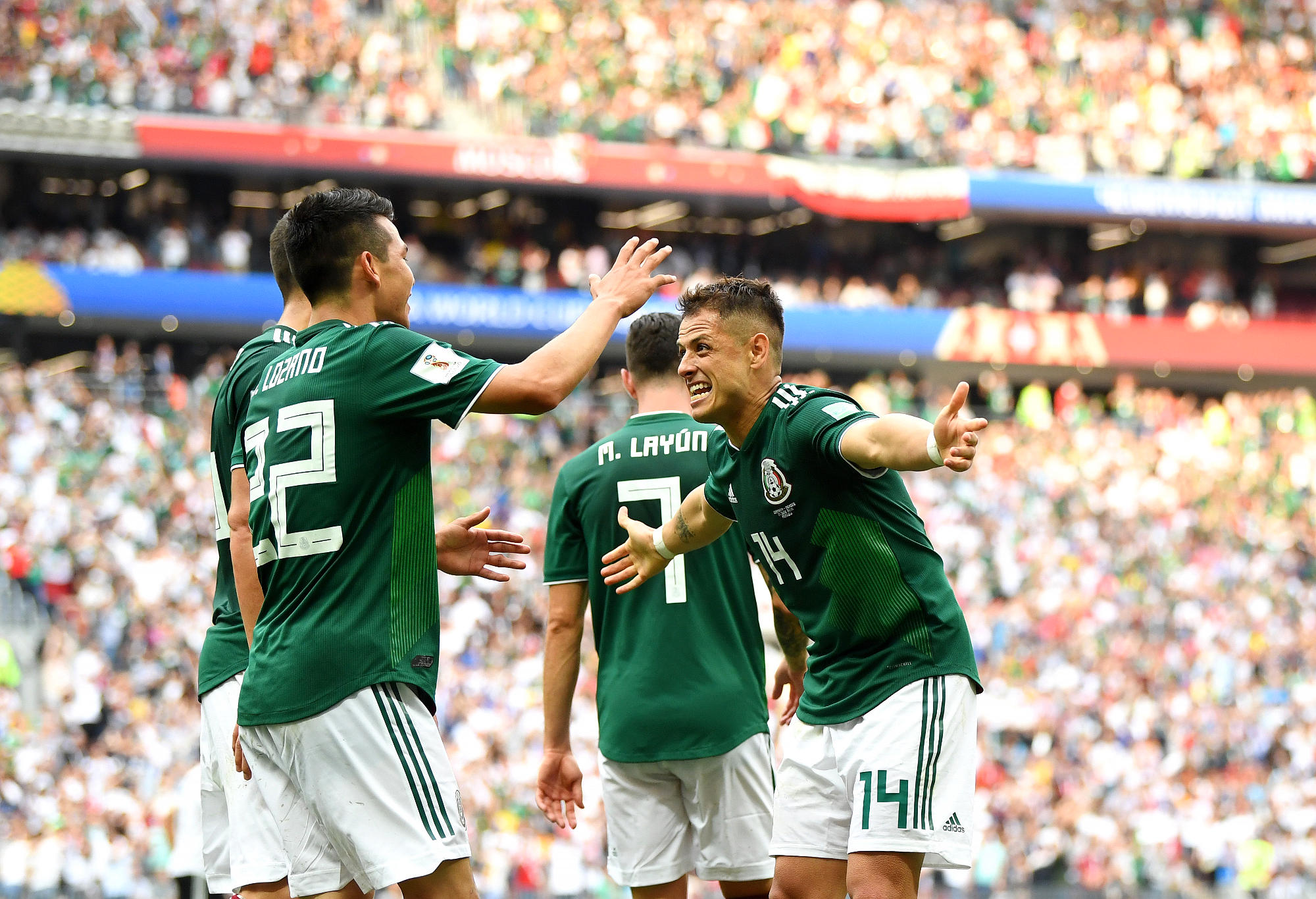 Javier Hernandez celebrates scoring a World Cup goal against Germany