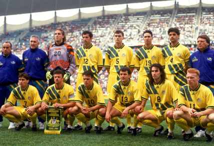 The Socceroos before their 1993 playoff against Canada