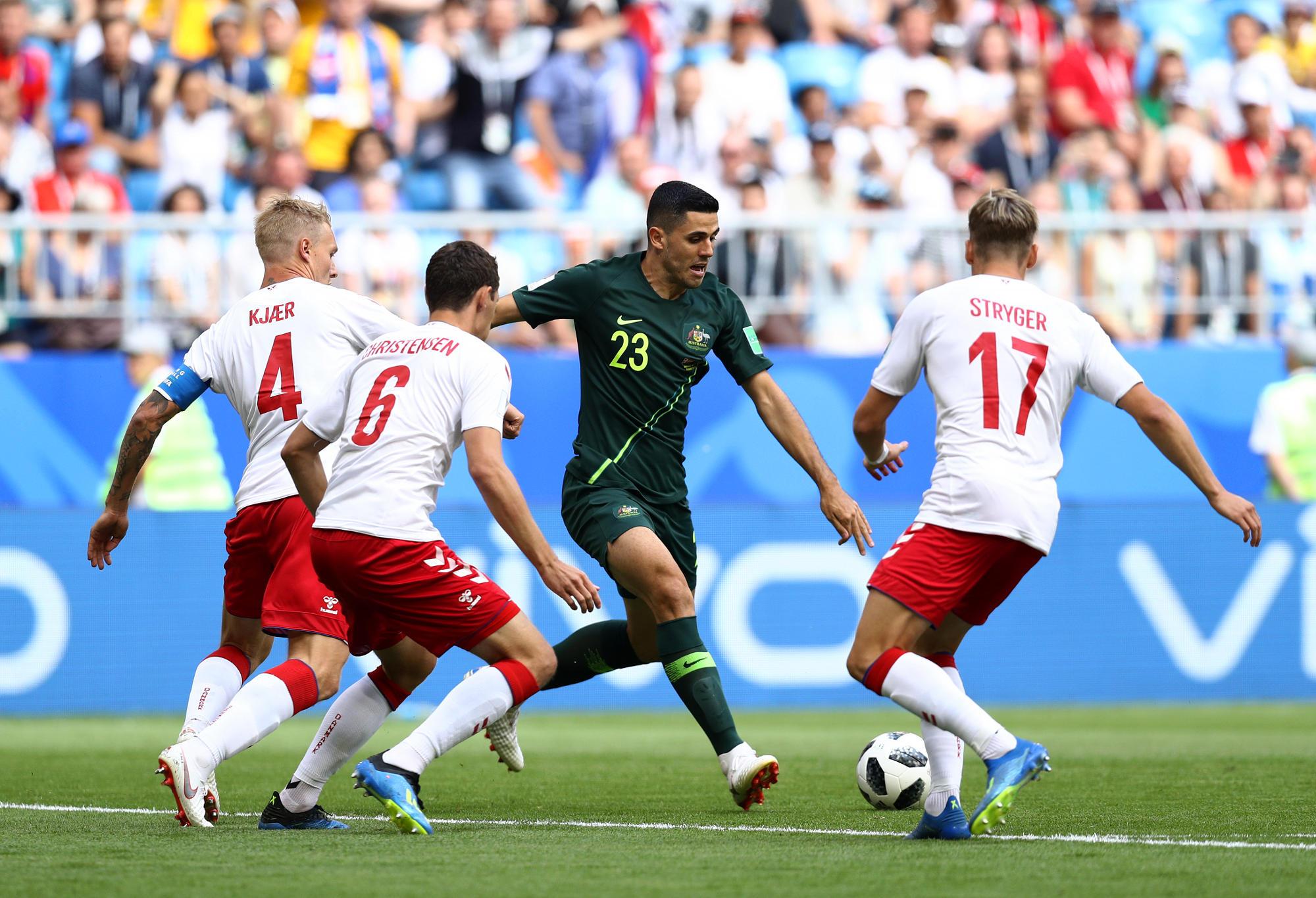 Tom Rogic in action for the Socceroos against Denmark.