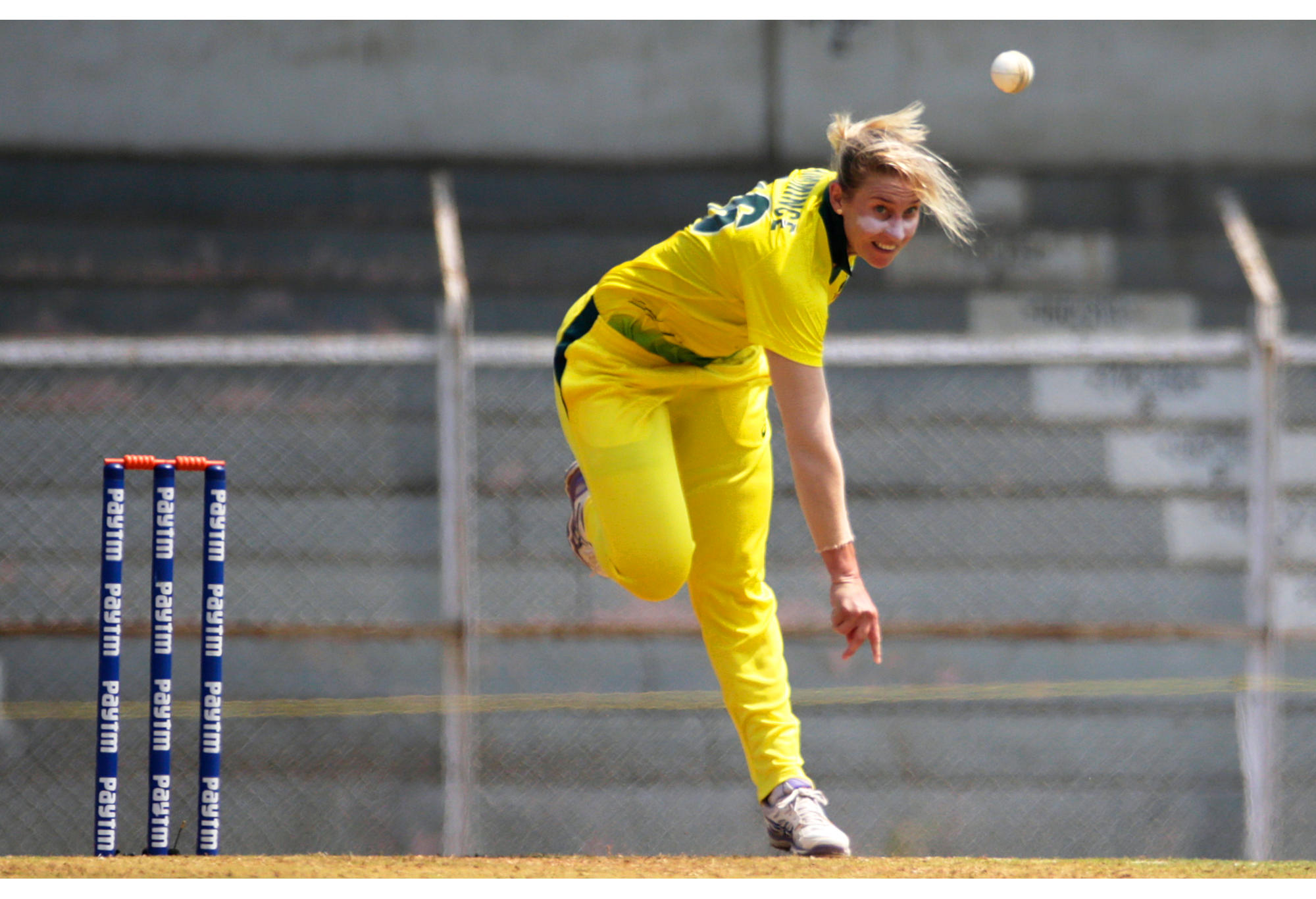 Australia's Delissa Kimmince bowls against India/