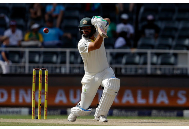 Australia's batsman Joe Burns plays a shot against South Africa.