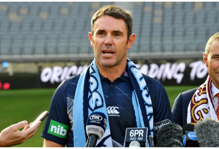 NSW coach Brad Fittler talks to the media at Optus Stadium, Perth.