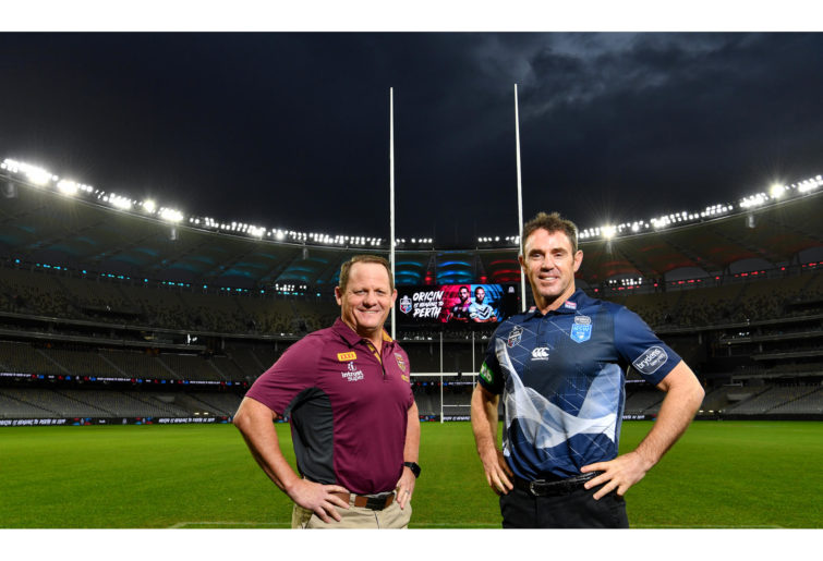Brad Fittler and Kevin Walters meet at Origin's latest destination, Optus Stadium in Perth.