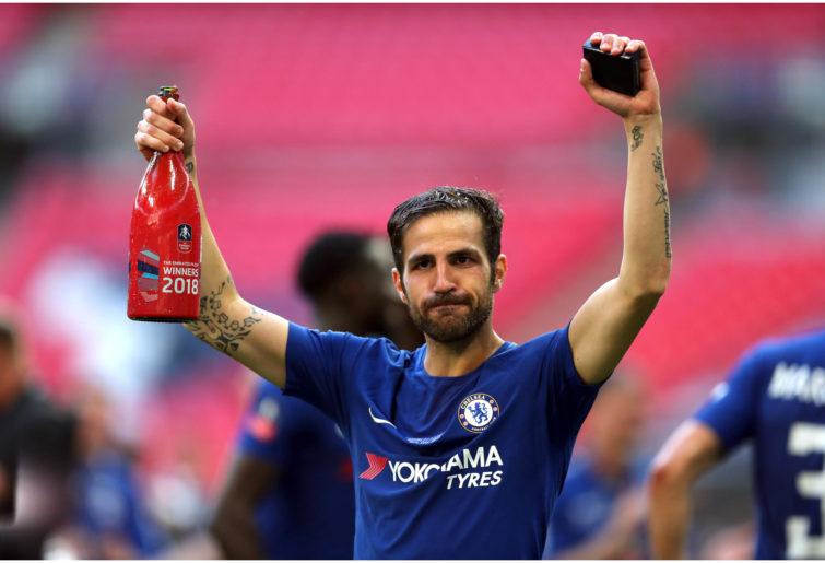 Chelsea's Cesc Fabregas celebrates after the Emirates FA Cup Final.