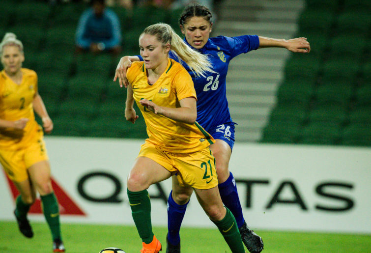 Ellie Carpenter for the Matildas during the International friendly match against Thailand.