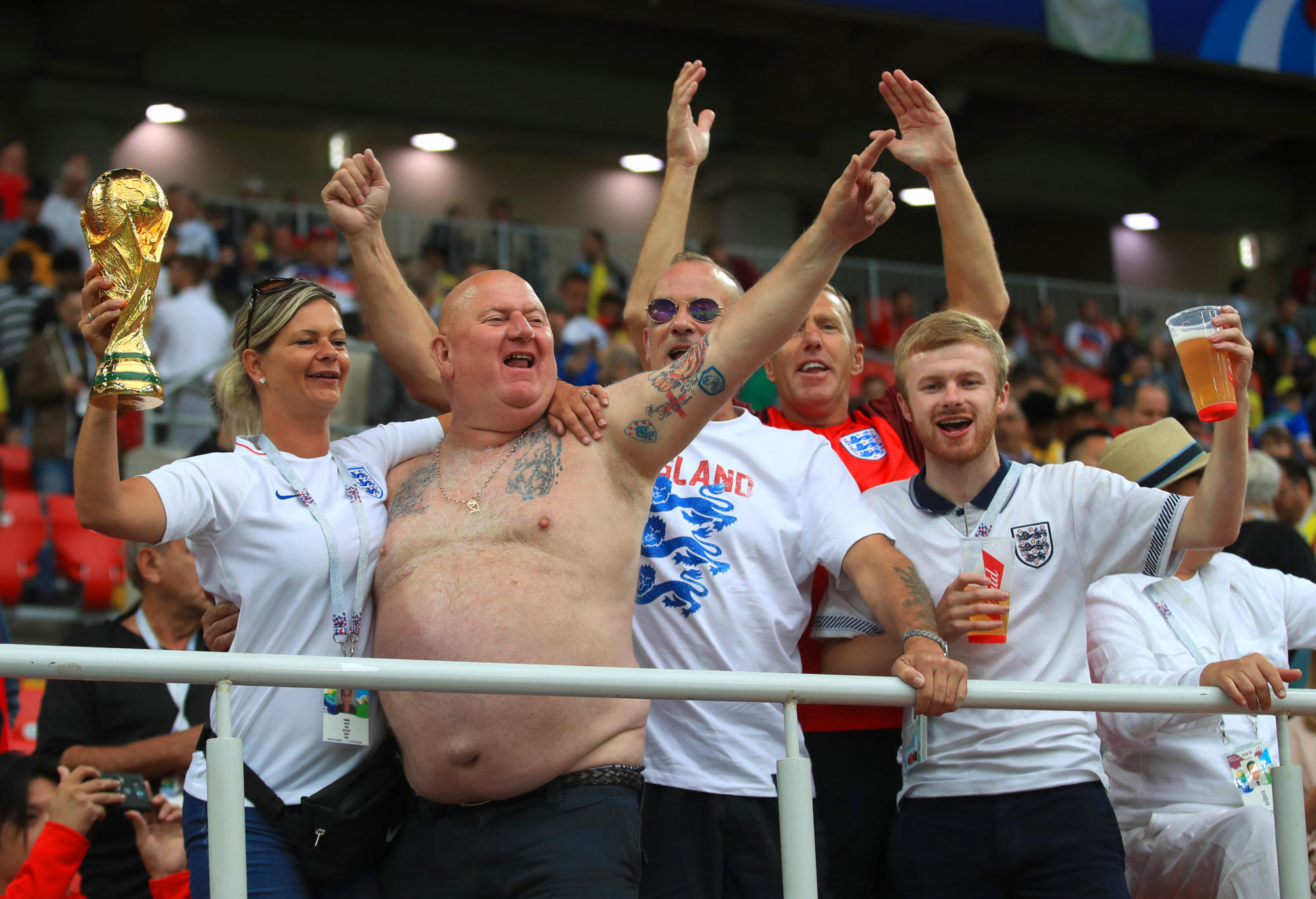 England fans celebrating in the stands at the World Cup.