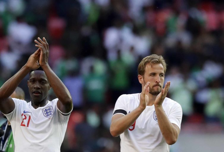 England's Danny Welbeck and Harry Kane applaud