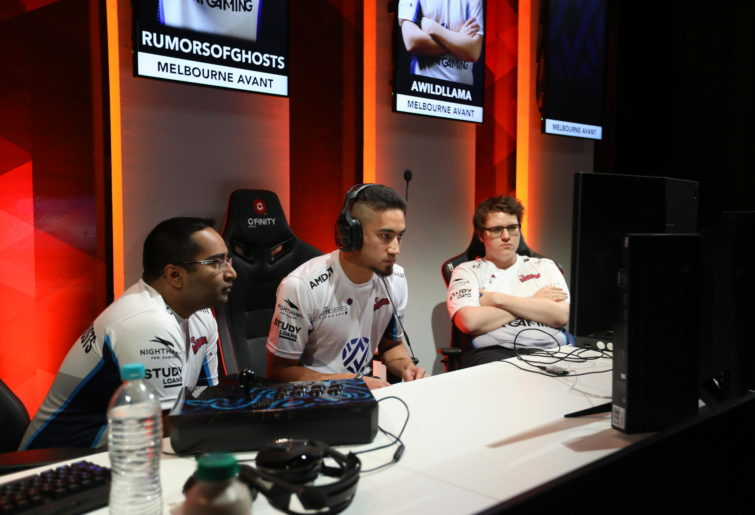 Members of the Melbourne Avant esports team participating in Street Fighter V at the Gfinity Elite Series.