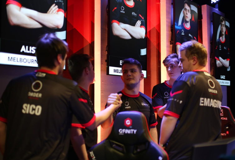 Members of the Melbourne Order CS:GO team celebrate their grand final victory at the Gfinity Elite Series.
