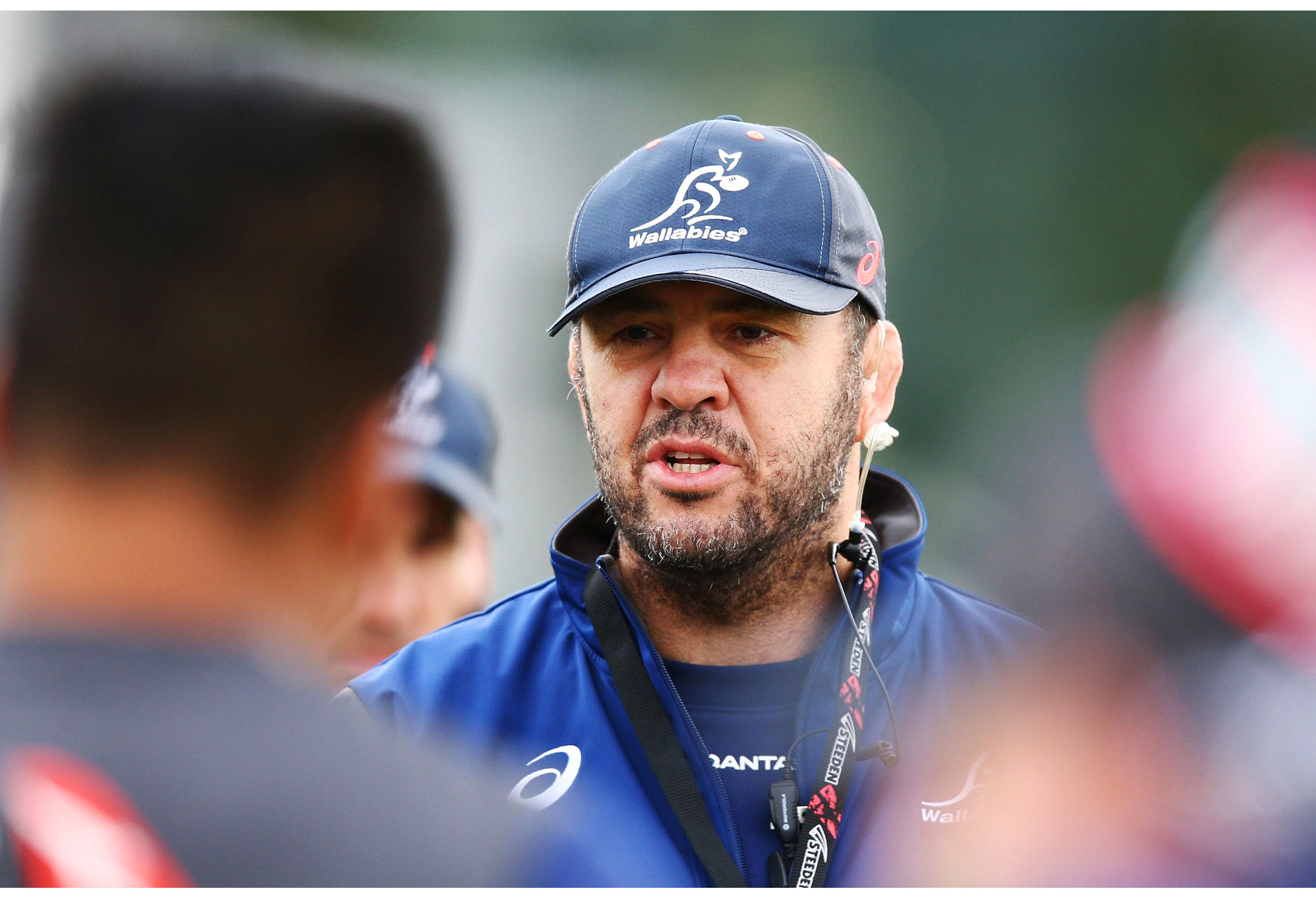 Wallabies head coach Michael Cheika speaks to his players during an Australian Wallabies training session