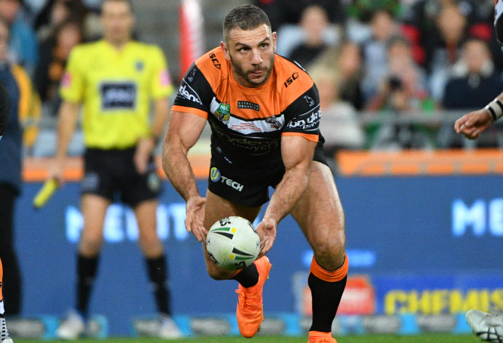 The Tigers' Robbie Farah in action during the Round 19 NRL match against the Rabbitohs.